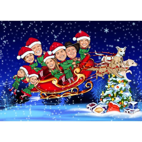 Santa's Sleigh Family Caricature from Photos for Christmas Card - example