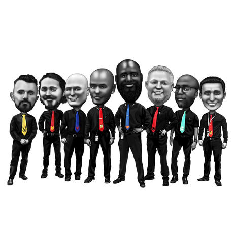 Black and White Groomsmen Caricature with Colored Ties - example
