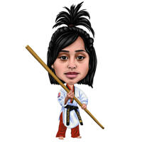 Custom Female Martial Arts Caricature in Color Style from Personalized Photos