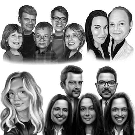 Head and Shoulders, Black and White Low Exaggeration Caricature from Photos - example