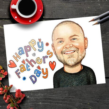 Happy Father's Day Colored Exagerated Style Caricature Poster Photo Print - example