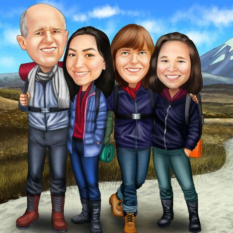 Full Body Family Caricature Drawing with Custom Background - example