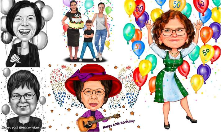 Mom Birthday Caricature large example