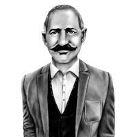 Portrait de personne commémorative du souvenir dessiné à la main à partir de photos en style crayon noir et blanc