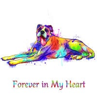 Full Body Dog Memorial Portrait from Photos in Rainbow Watercolor Style