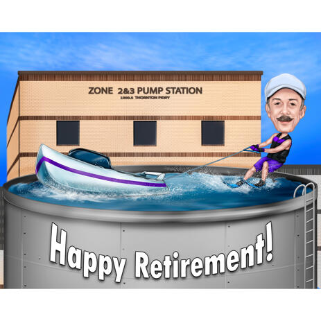 Person Water Skiing Cartoon Caricature Gift Idea with Custom Background from Photos - example