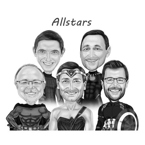 Men Superhero Group Caricature Artwork from Photos in Black and White Drawing Style - example