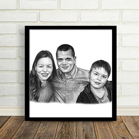 Parents with Kid Portrait from Photos as Printed Poster - example