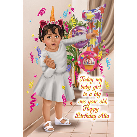 Kids 1st Birthday Party Celebration Caricature in Color Style for Custom Invitation Card - example