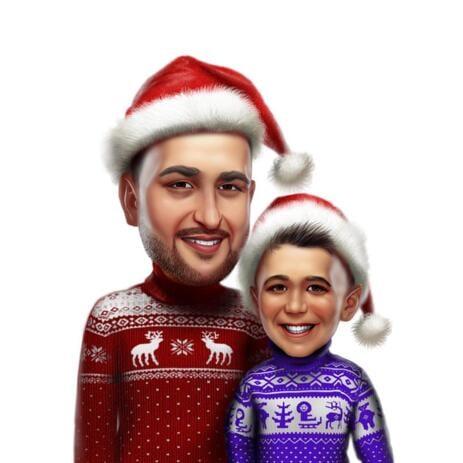 Caricatura navideña de dos personas a partir de fotos - example