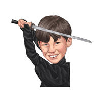 Caricature de Ninja Kid à partir de photos dans des crayons de couleur