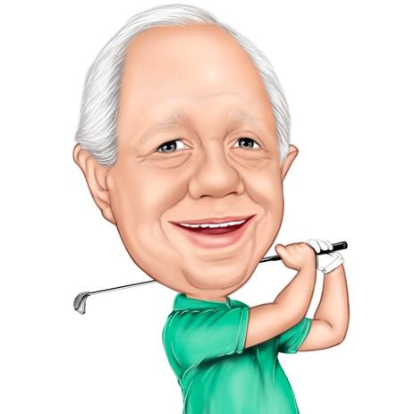 Golf Caricature: Head and Shoulders Golfer Gift - example