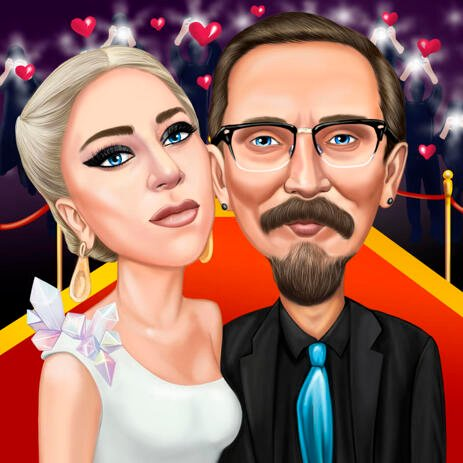 Celebrity Couple Caricature Portrait from Photos - example