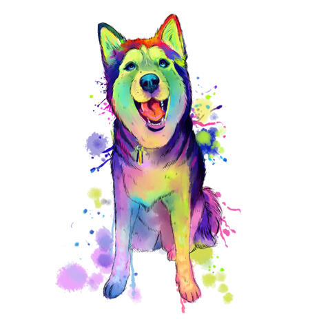 Full Body Husky Dog Caricature Portrait in Artistic Watercolor Style - example