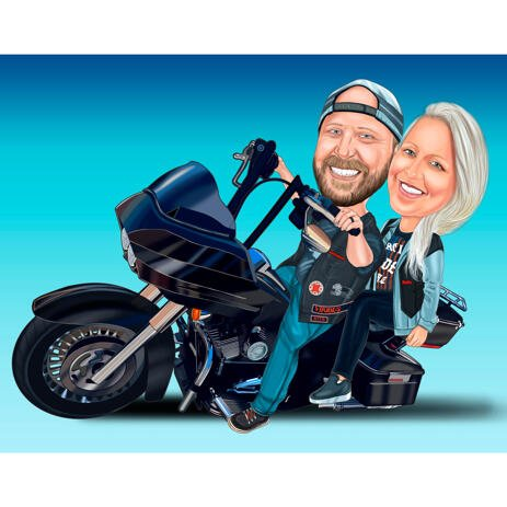 Joy Couple on Motorcycle Caricature Drawing from Photos with One Color Background - example