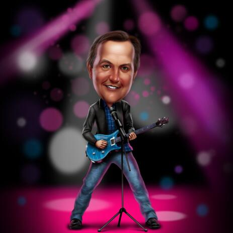 Caricatura del guitarrista en el escenario de Photos for Guitar Lovers - example