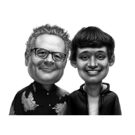 Father and Son Cartoon Caricature in Black and White Style from Photos - example