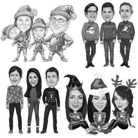 Full Body Christmas Group Caricature in Black and White Style - example