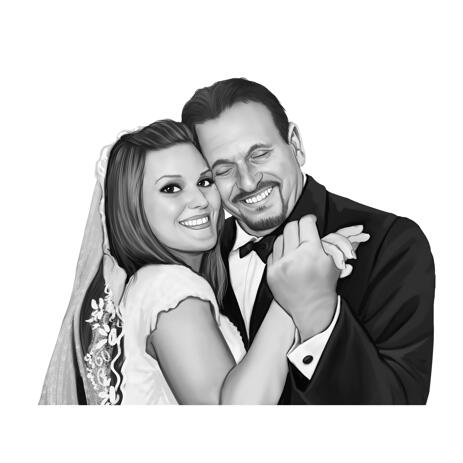 Bride and Groom Wedding Portrait from Photos: Black and White Style - example