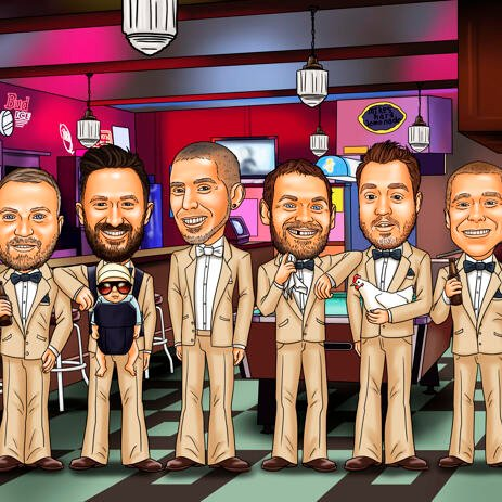 Bar Groomsmen Caricature from Photos - example