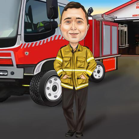 Карикатура на пожарного из фотографий - подарок на пожарного на фоне пожарной охраны - example