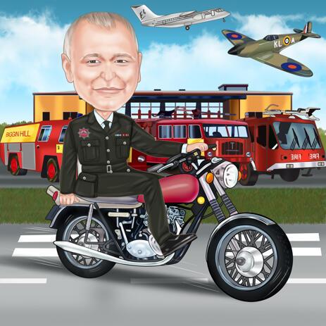 Цветная карикатура по фотографиям в подарок на пенсию от пожарной службы аэропорта. - example