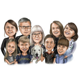 Family Portrait Drawing in Colored Digital Style
