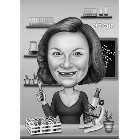 Medical Science Doctor Caricature Gift in Black and White Style with Laboratory Background - example