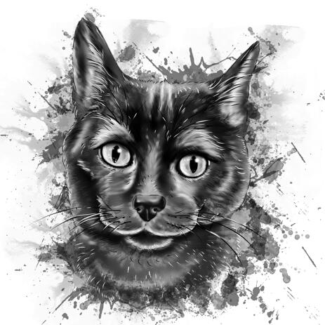 Cute Cat Caricature Portrait from Photos in Black and White Watercolor Style - example