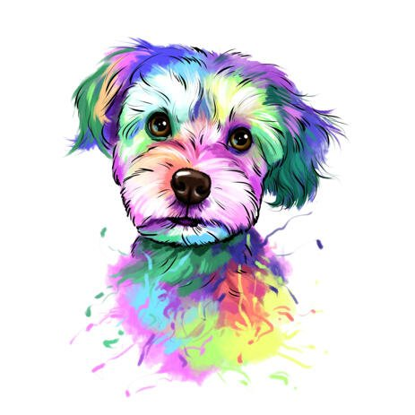 Yorkie Dog Caricature Portrait in Delicate Watercolor Pastel Style - example