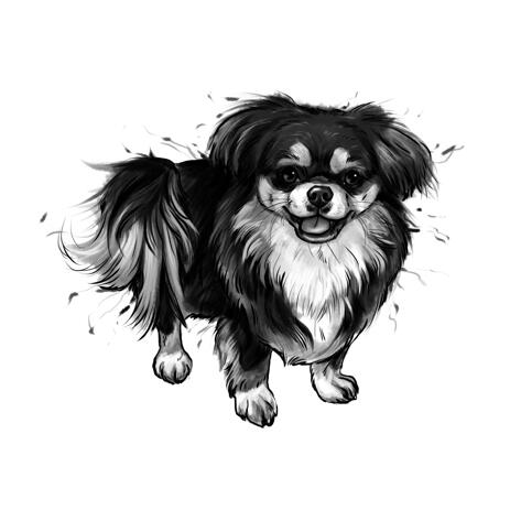 Full Body Black and White Style Pekingese Graphite Portrait Cartoon from Photos - example
