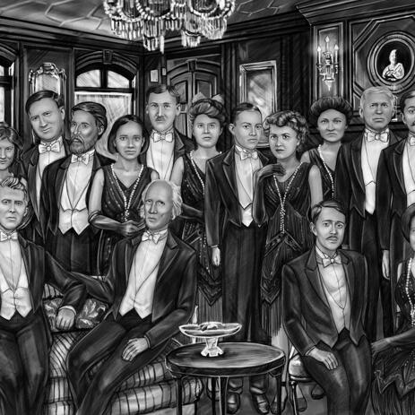 Group Portrait from Photos in Black and White Style - example