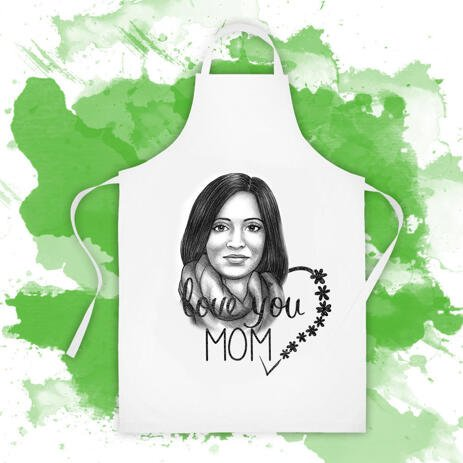 Photo Print on Apron: Custom Portrait Drawing of Woman in Pencils Style - example