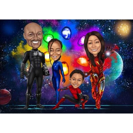 Superhero Family Caricature from Photos as Custom Superheroes - example
