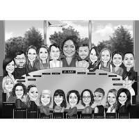 Корпоративный офис Группа Мультфильм Карикатура в черно-белом стиле по фотографиям