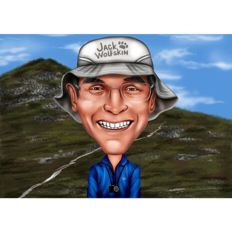Professional Photographer Exaggerated Style Caricature on Custom Background - example