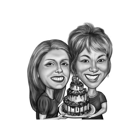 Black and White Graphic Friends Caricature for Birthday Gift - example