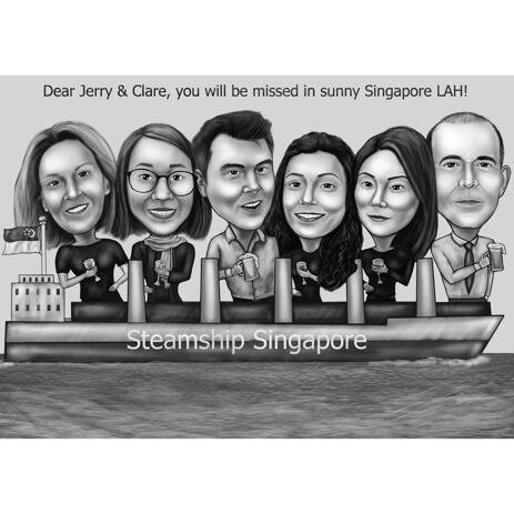 Group on Boat Caricature for Farewell or Retirement Gift - example