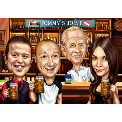 Group in Bar Colored Caricature from Photos for Perfect Personalized Gift - example