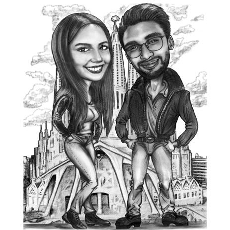 Full Body Couple Caricature in Black and White Pencil Style with Custom Background - example