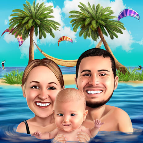 Family with Baby on Vacation - Head and Shoulders Colored Caricature from Photos - example