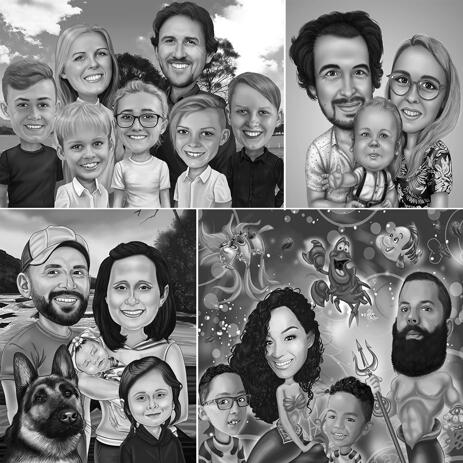 Family Caricature Portrait in Black and White Style with Custom Background - example