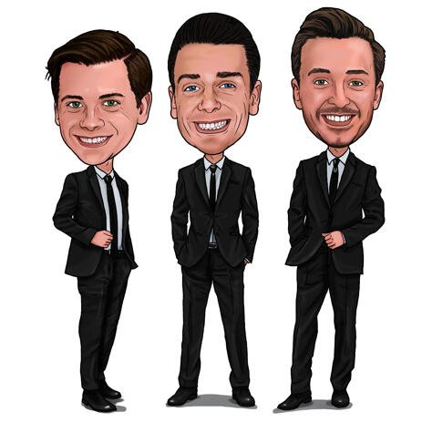 Groomsmen Cartoon från foto i färgad digital stil - example