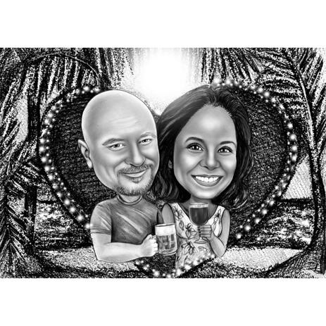 Couple Caricature in Black and White Charcoal Style with Custom Background - example