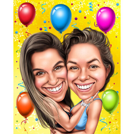 Birthday Gift Idea - Caricature for Friends in Color Style with Background - example