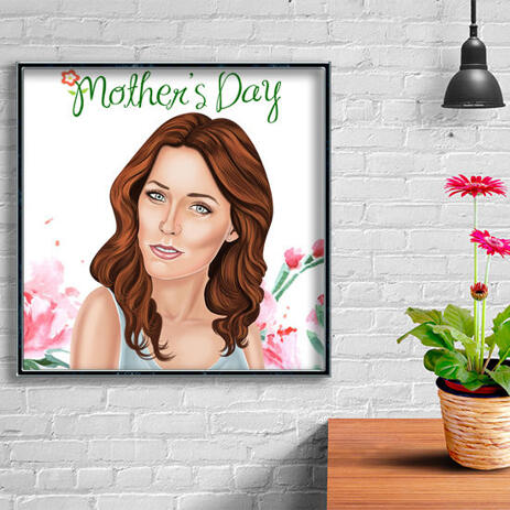 Photo Print: Mother's Day Cartoon Drawing in Colored Digital Style - example