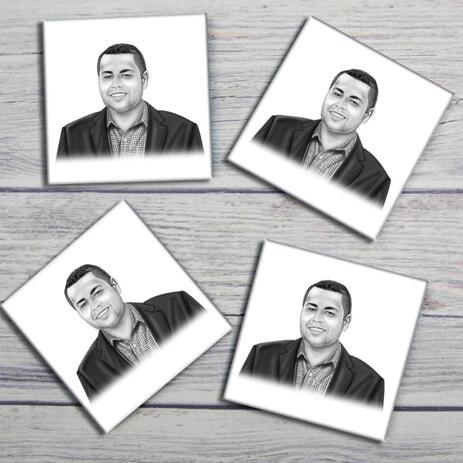 Corporate Portrait on Photo coasters - example