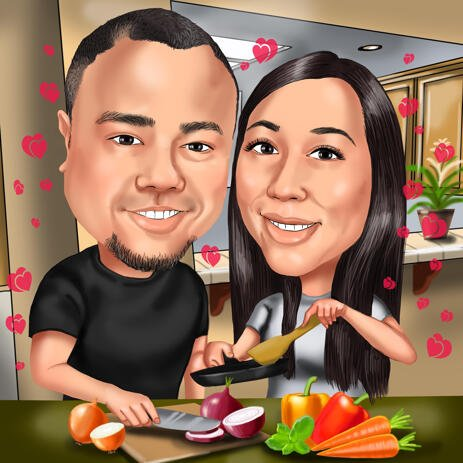Cooking Together - Romantic Couple Caricature for Cooking Lovers - example