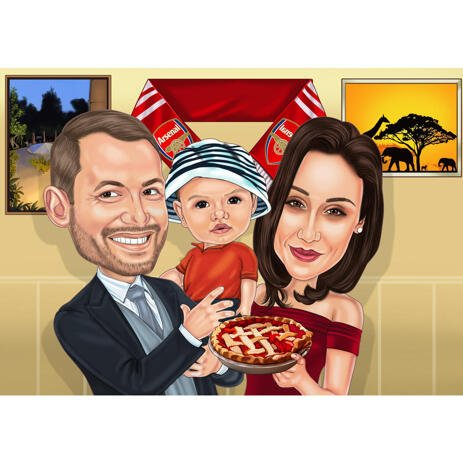 Couple with Kid Family Caricature from Photos at Thanksgiving - example