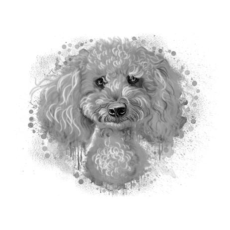 Poodle Portrait Caricature Hand Drawn in Graphite Watercolor Style - example